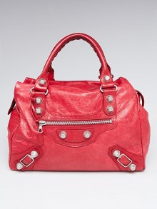 Balenciaga Ruby Lambskin Leather Giant 21 Silver Midday Bag