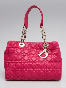 Christian Dior Fuchsia Cannage Quilted Lambskin Leather Small Dior Soft Tote Bag