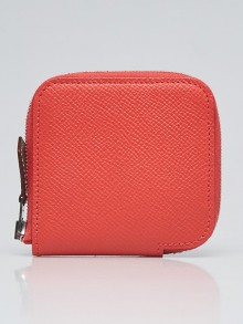 Hermes Rose Jaipur Epsom Leather Silk'in Change Small Coin Purse