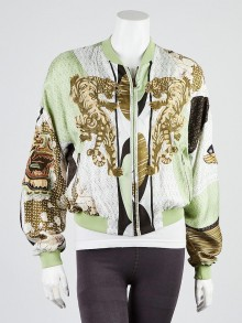 Emilio Pucci Green Embroidered Silk Bomber Jacket Size 6