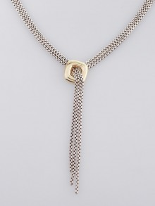 David Yurman Sterling Sliver and 18k Yellow Gold Lariat Necklace