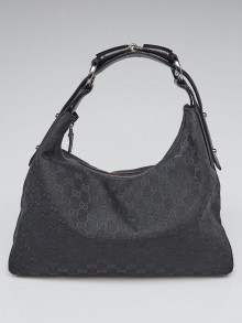 Gucci Black GG Canvas Medium Horsebit Hobo Bag