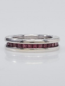 Bvlgari 18k White Gold and Garnet B.Zero 1 Band Ring Size 5.5/50