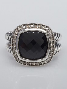 David Yurman 11mm Onyx and Diamond Albion Ring Size 7.5