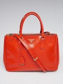 Prada Arancio Saffiano Vernice Leather Medium Double Zip Tote Bag BN2274