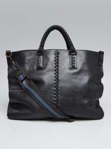 Bottega Veneta Black Intrecciato Leather Tote Bag