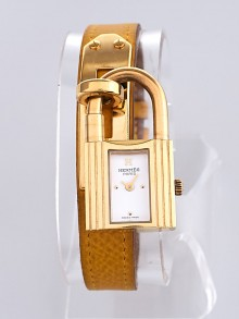 Hermes Yellow Epsom Leather Gold Plated Kelly PM Quartz Watch