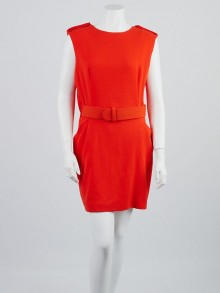 Alexander McQueen Orange Wool Belted Cape Dress Size 14/48