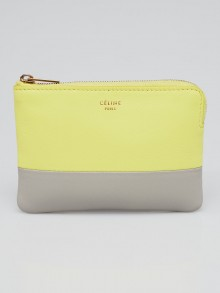 Celine Yellow/Grey Lambskin Leather Bi-Color Key and Change Holder Pouch