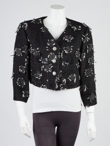 Chanel Black and White Tweed Cropped Jacket Size 14/46