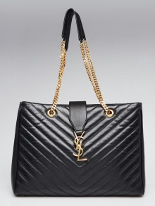 Yves Saint Laurent Black Chevron Quilted Leather Monogram Tote Bag
