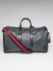 Gucci Black Soft GG Coated Canvas Supreme Carry-On Duffle Bag