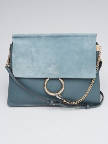 Chloe Blue Leather and Suede Faye Shoulder Bag