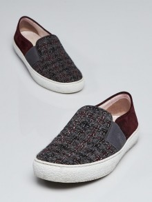 Chanel Grey and Burgundy Tweed Slip-On Sneakers Size 9.5/40