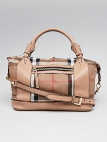 Burberry Brown Leather House Check Canvas Umber Bag