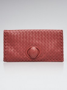 Bottega Veneta Dusty Pink Intrecciato Woven Leather Turnlock Clutch Bag