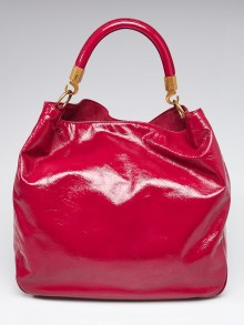 Yves Saint Laurent Pink Crinkled Patent Leather Roady Bag