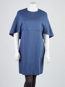 Valentino Blue Wool and Silk Blend Open Back Dress Size 12/46