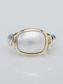 David Yurman 14k Gold and Mother of Pearl Noblesse Cable Ring Size 6