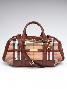 Burberry Brown Leather House Check Canvas Shoulder Bag