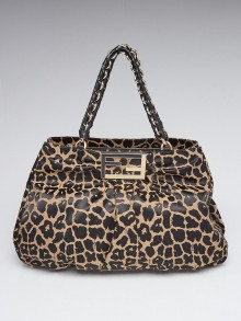 Fendi Leopard Print Canvas Large Mia Shoulder Bag 8BR616
