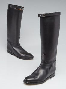 Hermes Black Box Leather Equestrian Boots Size 6.5/37