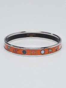 Hermes Orange Fish and Elephant Printed Enamel Palladium Plated Narrow Bangle Bracelet Size L