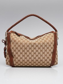 Gucci Beige/Brown GG Canvas Medium Bella Hobo Bag