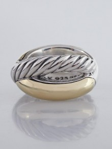David Yurman Sterling Silver and 18k Yellow Gold Crossover X Ring Size 4