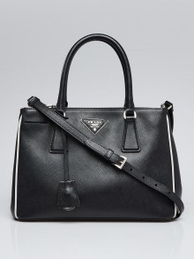 Prada Nero/Talco Saffiano Lux Leather Small Zip Tote Bag B2863Y