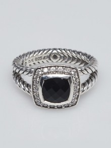 David Yurman 7mm Onyx with Diamonds and Sterling Silver Albion Ring Size 6.5