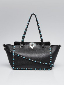 Valentino Black Pebbled Leather Turquoise Rockstud Small Trapeze Bag