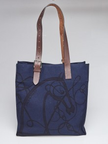 Hermes Blue Coup de Fouet Canvas Etriviere Shopping Tote Bag