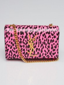 Yves Saint Laurent Pink Leopard Print Calf Leather Small Monogram Crossbody Bag