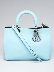 Christian Dior Light Blue Calfskin Leather Medium Diorissimo Tote Bag