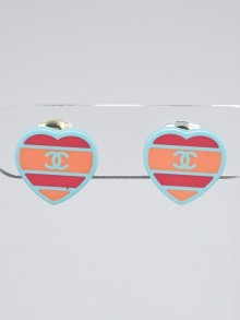 Chanel Blue Multicolor Stripe Resin Heart CC Clip-On Earrings