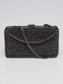 Valentino Black Satin and Black Crystals Clutch Bag