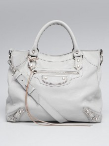 Balenciaga Gris Perle Chevre Leather Metallic Edge Velo Bag