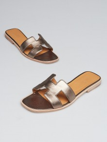 Hermes Bronze Nappa Leather Oran Flat Sandals Size 8/38.5