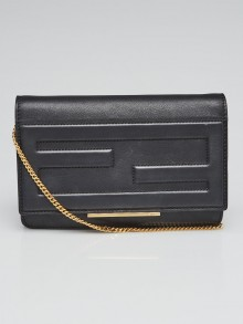 Fendi Black Nappa Leather Tube Wallet on Chain Clutch Bag 8M0346
