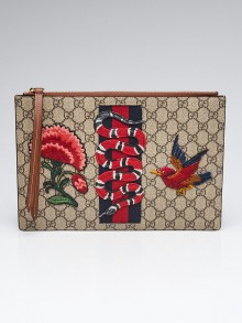 Gucci Beige/Ebony Supreeme Coated Canvas Embroidered GG Pouch Bag