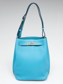 Hermes 22cm Turquoise Clemence Leather Palladium Plated So Kelly Bag