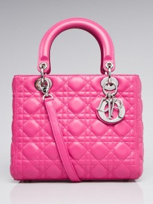 Christian Dior Fuchsia Cannage Quilted Lambskin Leather Medium Lady Dior Bag