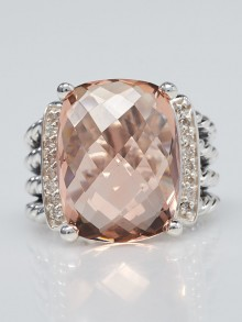David Yurman 16x12mm Pink Morganite and Diamond Wheaton Ring Size 5.5