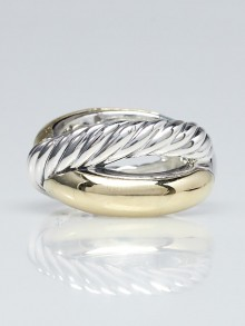 David Yurman Sterling Silver and 18k Yellow Gold Crossover X Ring Size