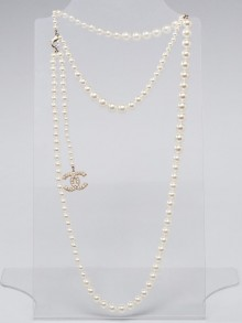 Chanel Glass Pearl Double CC Long Necklace / Belt