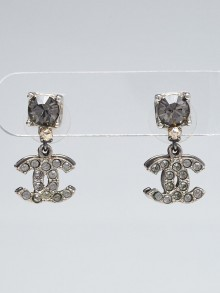 Chanel Silvertone Metal and Crystal Drop CC Earrings