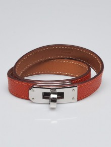 Hermes Orange Epsom Leather Palladium Plated Kelly Double Tour Bracelet Size M