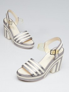 Chanel Silver/White Striped Leather Platform Wedge Sandals Size 7.5/38