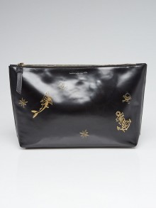 Alexander McQueen Black Leather Gold Embossed Clutch Bag
